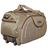 N Choice Waterproof Polyester Lightweight 60 L Luggage Brown Travel Duffel Bag with 2 Wheels
